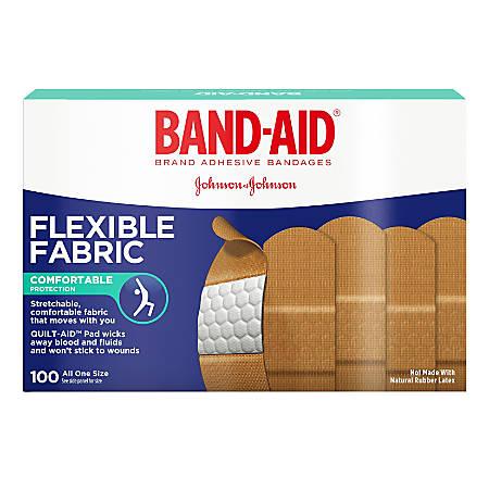 """Band-aid® Bandages, Flexible Fabric, 1"""" x 3"""", Box Of 100 Bandages"""