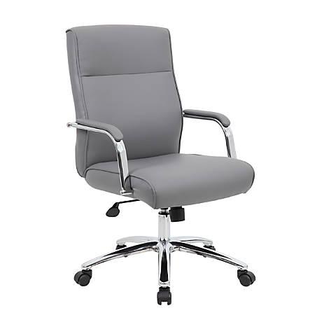 Boss Modern Conference High-Back Chair, Vinyl, Gray/Chrome/Gray