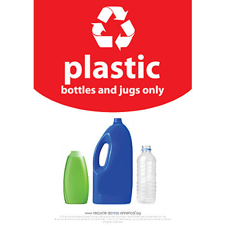 "Recycle Across America Plastics Standardized Recycling Label, PLAS-1007, 10"" x 7"", Red"