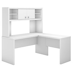 kathy ireland® Office by Bush Business Furniture Echo L Shaped Desk With Hutch, Pure White, Premium Installation
