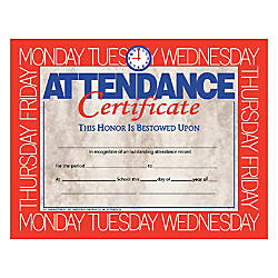 Hayes Attendance Certificates 8 12 x