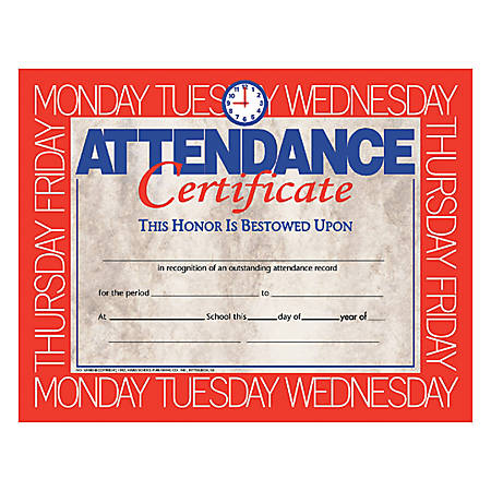 """Hayes Attendance Certificates, 8 1/2"""" x 11"""", Beige/Red, 30 Certificates Per Pack, Bundle Of 6 Packs"""