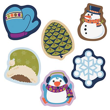 "Carson-Dellosa Winter Mix Mini Cut-outs - Learning, Fun, Winter Theme/Subject - 8, 8, 8, 4, 4, 6 (Hat, Penguin, Snowman, Mitten, Pinecone, Snowflake) Shape - 3"" Width x 3"" Length - Multicolor - 38 / Pack"
