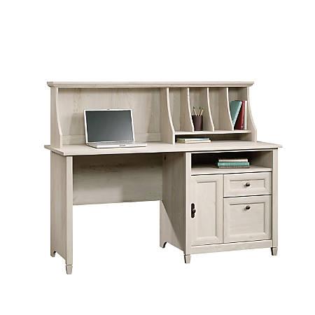 Sauder Edge Water Computer Desk With Hutch, Chalked Chestnut