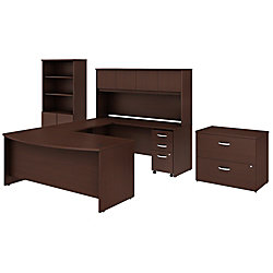 "Bush Business Furniture Studio C 72""W x 36""D U-Shaped Desk With Hutch, Bookcase And File Cabinets, Harvest Cherry, Premium Installation"