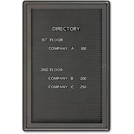 """Quartet® Radius Enclosed Magnetic Letter Board, 1 Door, 36""""H x 24""""W"""
