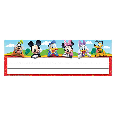 "Eureka Mickey Mouse Clubhouse® Self-Adhesive Name Plates, 9 5/8"" x 3 1/4"", Multicolor, 36 Plates Per Pack, Bundle Of 6 Packs"