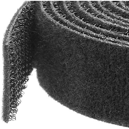 StarTech.com Hook-and-Loop Cable Management Tie - 10 ft. Roll - Black - Cut-to-Size Cable Wrap / Straps - Black - 1 Pack - Fabric