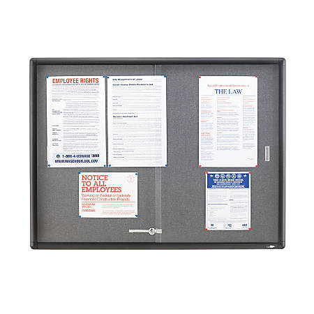 "Quartet® Sliding Door Fabric Bulletin Board, 36""H x 48""W, 2 Doors"