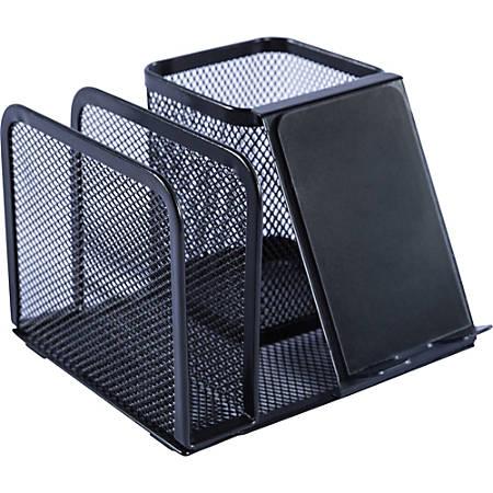 "Lorell Mesh Desktop Organizer - 5.1"" Height x 5.1"" Width - Desktop - Black - Metal - 1Each"
