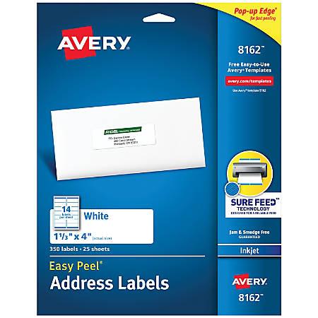 """Avery® Easy Peel® White Inkjet Address Labels, 8162, 1 1/3"""" x 4"""", Box Of 350"""