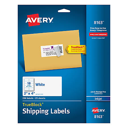 "Avery® TrueBlock® Permanent Inkjet Shipping Labels, 8163, 2"" x 4"", White, Pack Of 250"