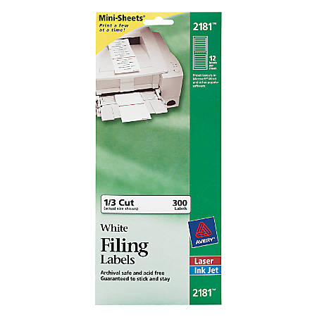 "Avery® Mini-Sheets® Permanent Inkjet/Laser Filing Labels, 2181, 2/3"" x 3 7/16"", White, Pack Of 300"