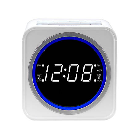 Nelsonic FM Clock Radio, White