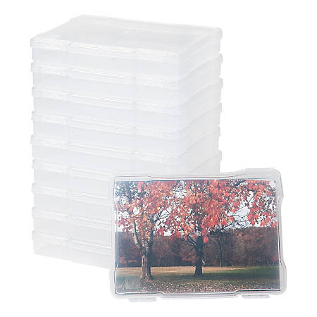 "IRIS Craft Cases For 5"" x 7"" Photos And Embellishments, 5-3/4"" x 7-13/16"" x 1-1/4"", Clear, Pack Of 10 Craft Cases"