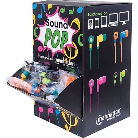 Manhattan SoundPOP Earphone Countertop Display/Dispenser - Stereo - Teal, Yellow, Blue, Orange, Pink, Fuschia, Black, Green - Wired - 32 Ohm - 20 Hz 20 kHz - Earbud - Binaural - In-ear - 3.28 ft Cable