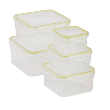 Honey-Can-Do Snap-Tab 10-Piece Food Storage Set, 0.4 - 3.2 Qt, Clear