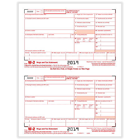 "ComplyRight™ W-2 Tax Forms, Inkjet/Laser, Federal Copy A, 2-Up, 8-1/2"" x 11"", Pack Of 100 Forms"