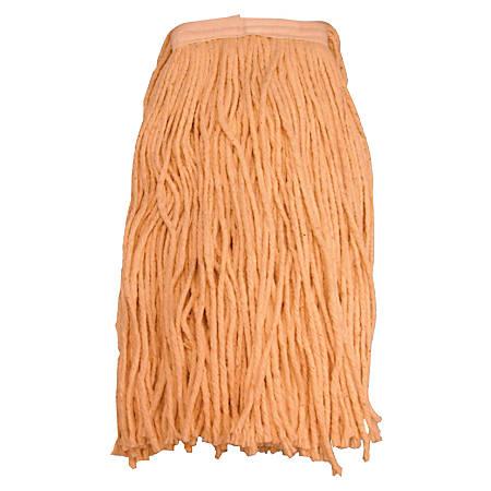 Magnolia Brush 4-Ply Cotton Mop Heads, Regular, 24 Oz Capacity, Orange, Pack Of 12 Mop Heads