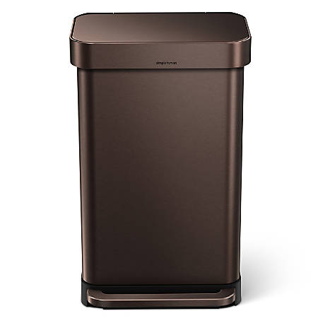 """simplehuman Rectangular Stainless-Steel Step Trash Can With Liner Pocket, 25 13/16""""H x 15 15/16""""W x 13 5/16""""D, 11.89 Gallons, Dark Bronze"""