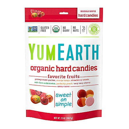 Yummy Earth Organic Favorite Fruit Hard Candies, 13 Oz, Pack Of 3 Bags