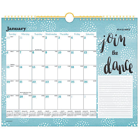"AT-A-GLANCE® Monthly Wall Calendar, 14 7/8"" x 11 7/8"", Pebble, January 2019 to December 2019"