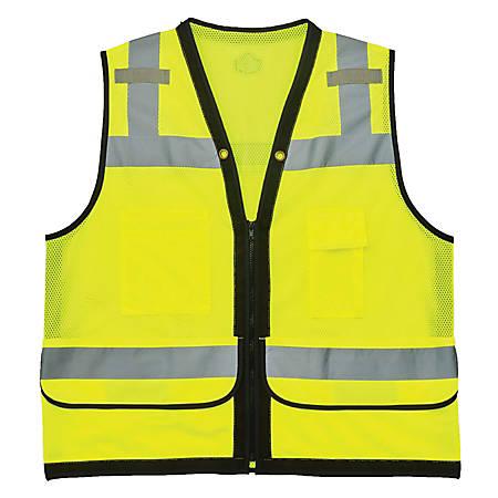 Ergodyne GloWear Safety Vest, Heavy-Duty Mesh, Type-R Class 2, Large/X-Large, Lime, 8253HDZ