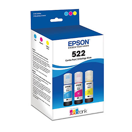 Epson EcoTank 522 Combo Pack - 3-pack - Ultra High Capacity - yellow, cyan, magenta - original - ink refill - for EcoTank ET-2720, ET-2720 All-in-One Supertank Printer, ET-2726, ET-4700