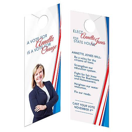 """Custom Full-Color Door Hangers, Print 2 Sides, UV Gloss 1 Side, 3-1/2"""" x 8-1/2"""", Box Of 50"""
