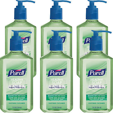PURELL® HEALTHY SOAP Soothing Cucumber - Soothing Cucumber Scent - 12 fl oz (354.9 mL) - Pump Bottle Dispenser - Dirt Remover, Kill Germs - Hand, Skin - Light Green - Moisturizing, Bio-based - 6 / Pack