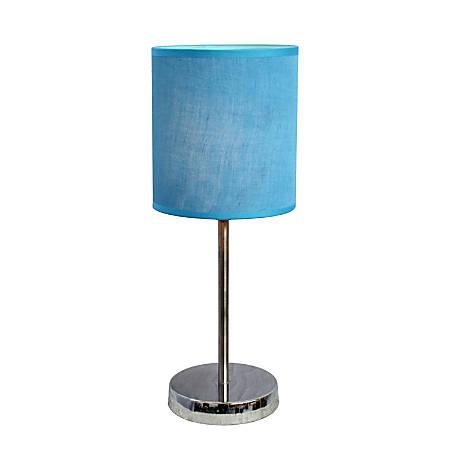 "Simple Designs Mini Basic Table Lamp, 11 7/8""H, Blue Shade/Chrome Base"