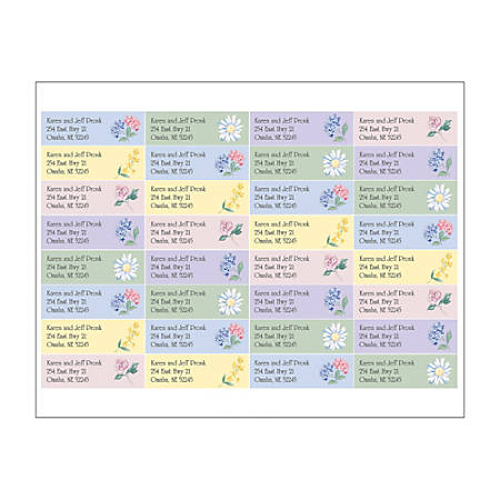 """Custom Full-Color Sheet Address Labels, 2-1/2"""" x 3/4"""", Clear, Pack Of 128 Labels"""