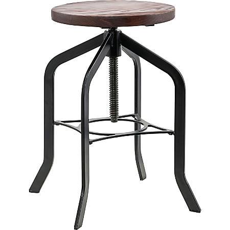 "Lorell® Industrial Swivel Wood Seat Stool, 28.4""H, Black"