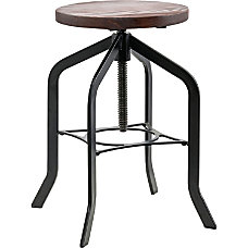 Lorell Industrial Swivel Wood Seat Stool