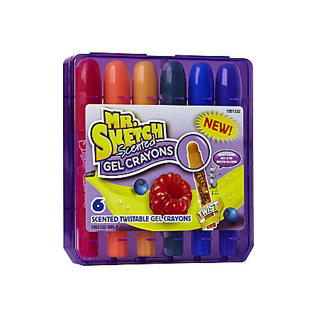Mr. Sketch® Scented Twistable Gel Crayons, Assorted Colors, Pack Of 6