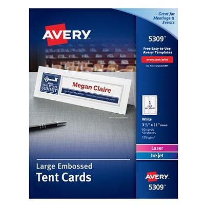 avery inkjetlaser tent cards embossed 3 12 x 11 fsc certified white