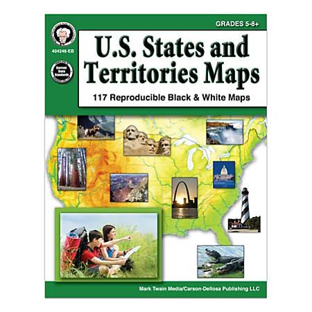 Mark Twain Media U.S. States And Territories Maps, Grades 5-8