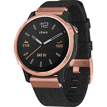 "Garmin finix 6S Sapphire GPS Watch - Touchscreen - Bluetooth - Wireless LAN - GPS - 480 Hour - Round - 1.65"" - Rose Gold Case - Heathered Black Band - Sapphire Crystal Lens - Fiber"