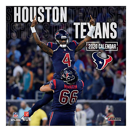 """Turner Licensing Monthly Wall Calendar, 12"""" x 12"""", Houston Texans, 2020"""