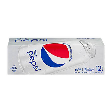 Diet Pepsi, 12 Oz, Pack Of 12 Cans