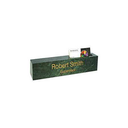 Laser-Engraved Marble Desk Bar, With Business Card Slot, Green