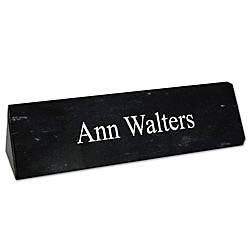 Laser Engraved Marble Desk Bar Black