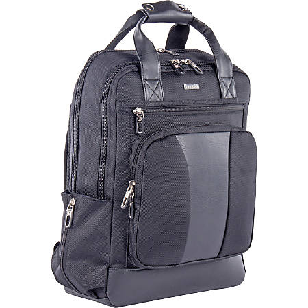 "bugatti Carrying Case (Backpack) for 15.6"" Notebook - Black - Strain Resistant Interior - Synthetic Leather, 1680D Polyester - Shoulder Strap - 16.5"" Height x 5.5"" Width x 11.5"" Depth"