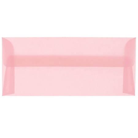 "JAM Paper® Translucent Business Booklet Envelopes With Gummed Closure, #10, 4 1/8"" x 9 1/2"", Blush Pink, Pack Of 25"