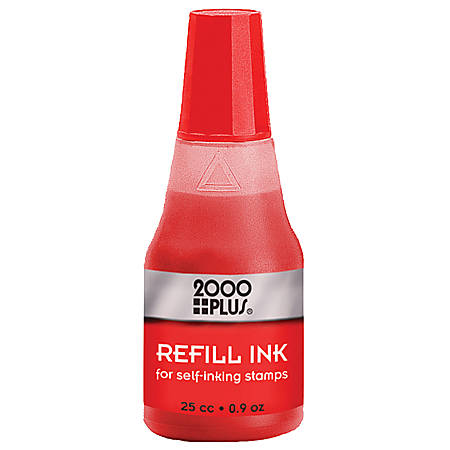 2000 PLUS® Self-Inking Stamp Re-Ink Fluid, 1 Oz., Red