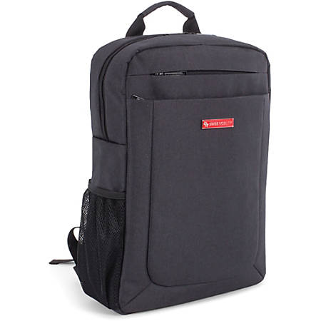 """Swiss Mobility Carrying Case (Backpack) for 15.6"""" Notebook - Charcoal Gray - Bump Resistant, Scratch Resistant - Shoulder Strap - 17"""" Height x 4.5"""" Width x 12"""" Depth"""