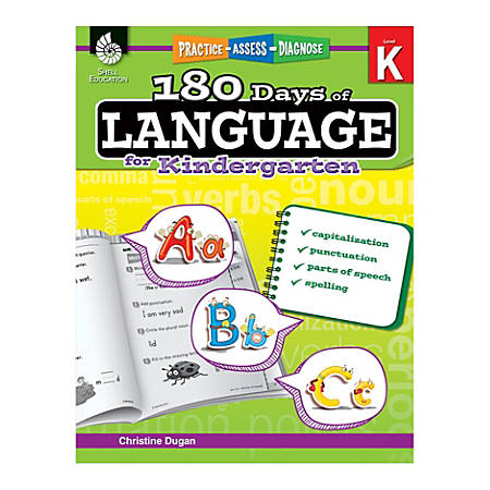 Shell Education 180 Days Of Language Workbook, Kindergarten