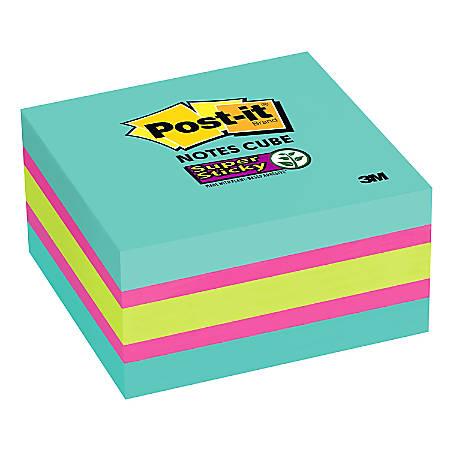 """Post-it® Notes Cube Notes, 3"""" x 3"""", Aqua, Pad Of 360 Sheets"""