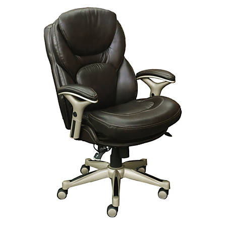 Serta Works Mid-Back Office Chair With Back In Motion Technology, Bonded Leather, Old Chestnut/Silver