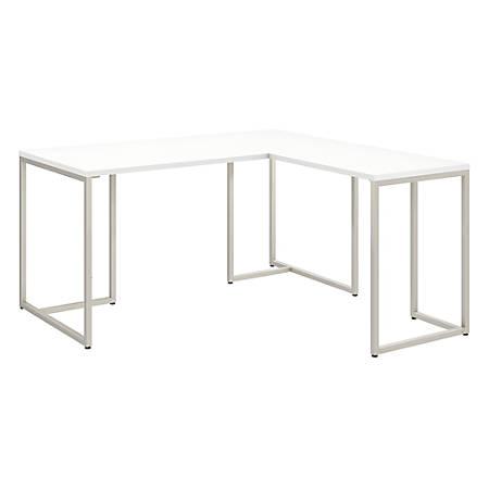"kathy ireland® Office by Bush Business Furniture Method 60""W L Shaped Desk with 30""W Return, White, Premium Installation"